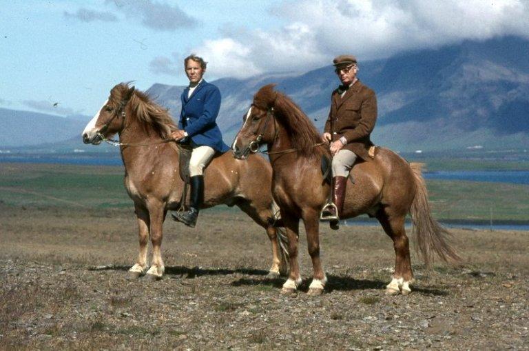 Fyrri mynd: Mynd frá landsmótinu á Vindheimamelum 1974. Til vinstri er Núpur frá Kirkjubæ, sigurvega…