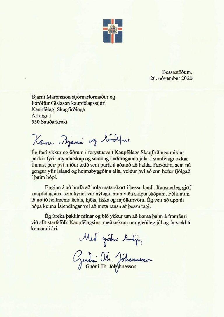 >Bréf forseta Íslands.
