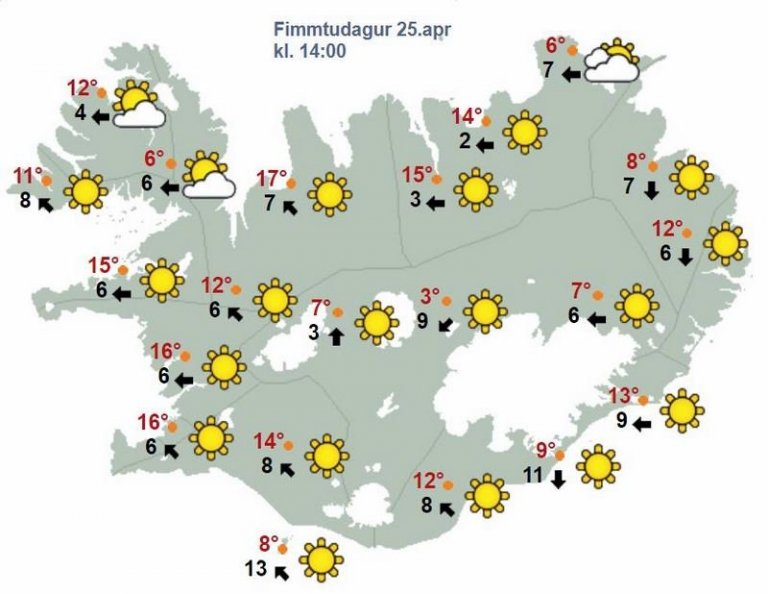 >Svona lítur spákortið út fyrir daginn í dag. Nokkuð gott bara.