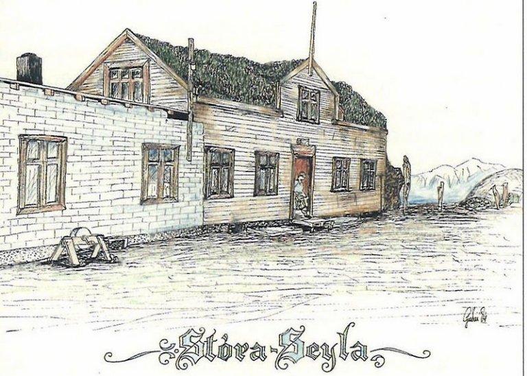 >Teikning Guðna Björnssonar af gamla bænum á Seylu, byggður um 1925 af Guðjóni í Vatnskoti. Austurhl…